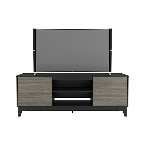 Rhapsody 72 inch TV Stand, Black and Bark Grey