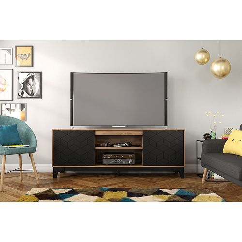 Hexagon 72 inch TV Stand, Nutmeg and Black
