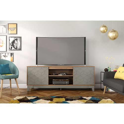 Hexagon 72 inch TV Stand, Nutmeg and Greige