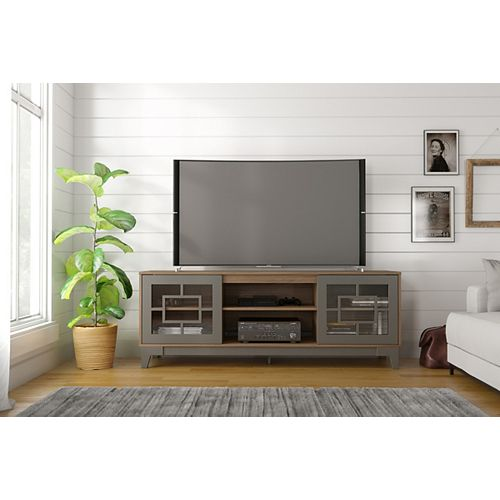 Magnolia 72 inch TV Stand, Nutmeg and Greige