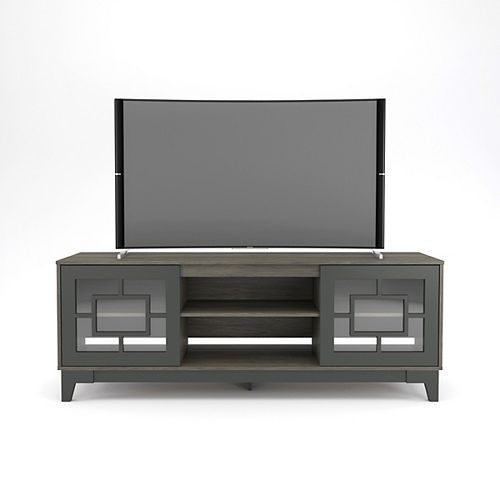 Magnolia 72 inch TV Stand, Bark Grey and Charcoal Grey