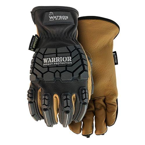 Watson Gloves Heavy Duty Impact, Oil & Water Resistant Goatskin Leather Work Gloves - Warrior - L