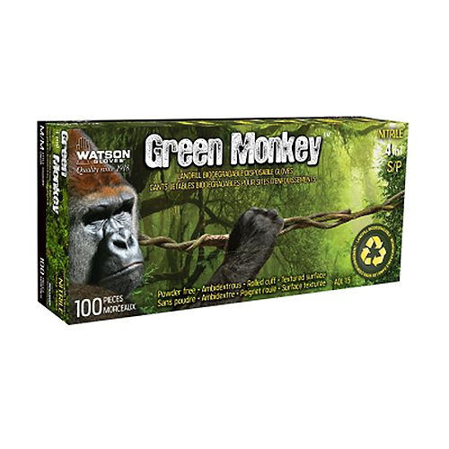 Gants jetables et biodégradables enduits de nitrile 4 mil paquet de 50 - Green Monkey - G