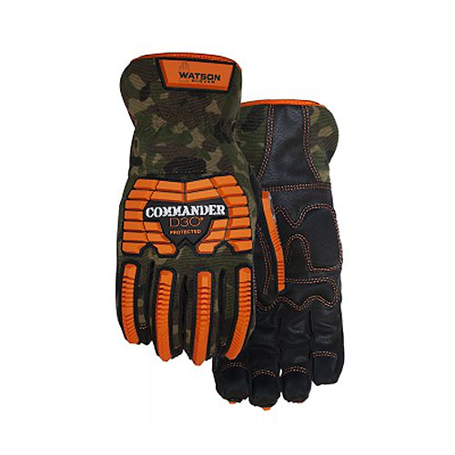 Heavy Duty Camo Work Gloves with D3O Protection & PVC Padded Palm Grip - Commander - M