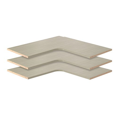 Closet Evolution 30 in. Corner Shelves in Rustic Grey (3-Pack)
