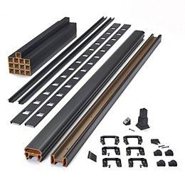 6 Pi  42 Po Transcend Ensemble de rampes horizontales avec balustres carrés en composite - Noir