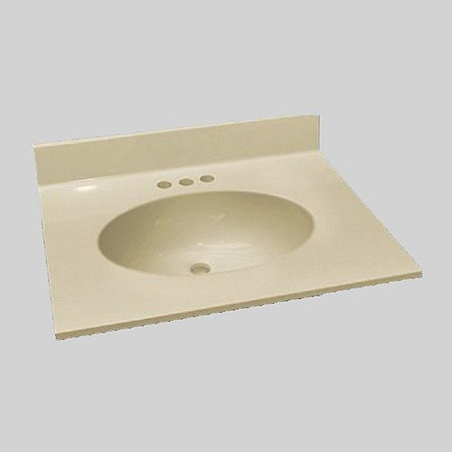 Malibu 31-Inch W x 22-Inch D Marble Centre Basin Vanity Top in Solid Bone