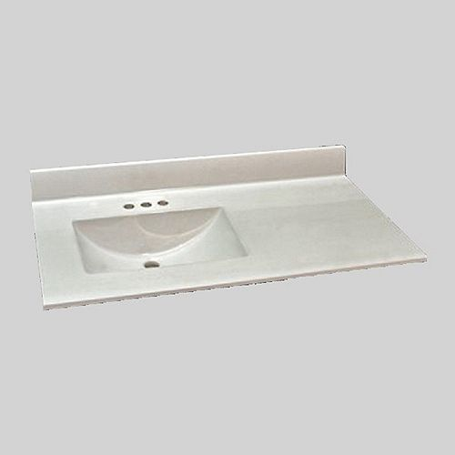 Wave 37-Inch W x 22-Inch D Marble Left Hand Basin Vanity Top in Ultra White