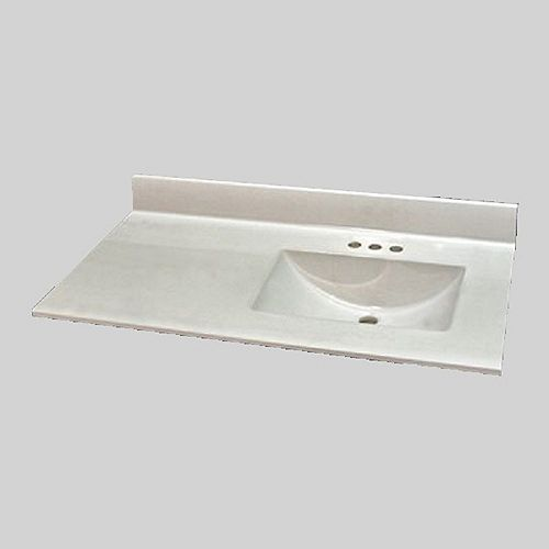 Wave 37-inch W x 22-inch D Marble Right Hand Basin Vanity Top in Ultra White