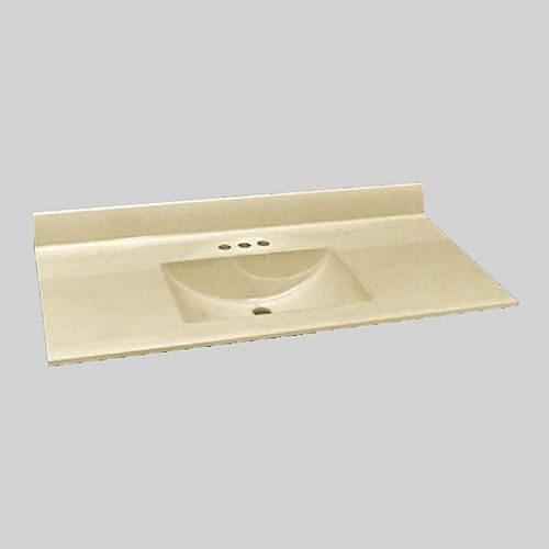 Wave 49-Inch W x 22-Inch D Marble Centre Basin Vanity Top in Solid Bone
