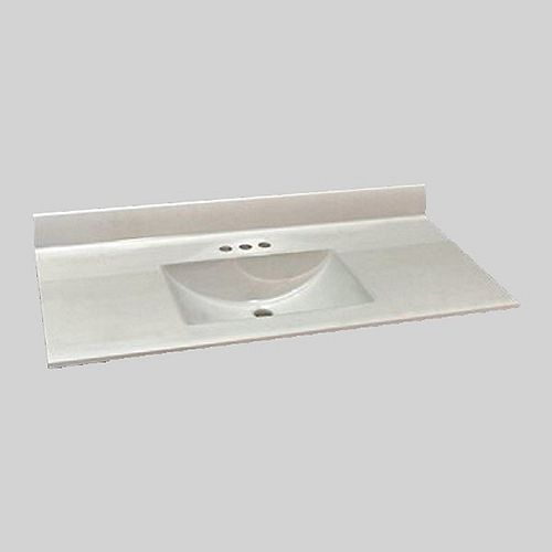Wave 49-Inch W x 22-Inch D Marble Centre Basin Vanity Top in Ultra White