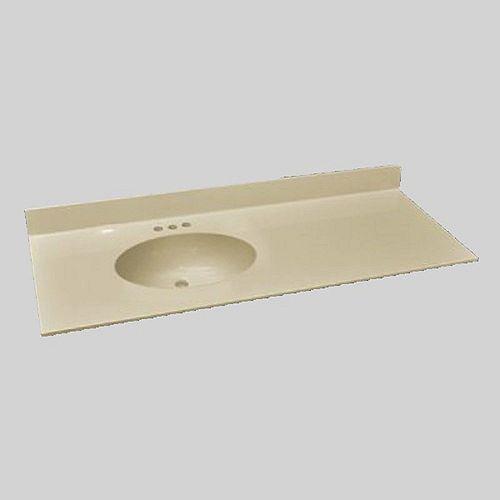 Malibu 49-Inch W x 22-Inch D Marble Left Hand Basin Vanity Top in Solid Bone