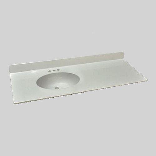 Malibu 49-Inch W x 22-Inch D Marble Left Hand Basin Vanity Top in Ultra White