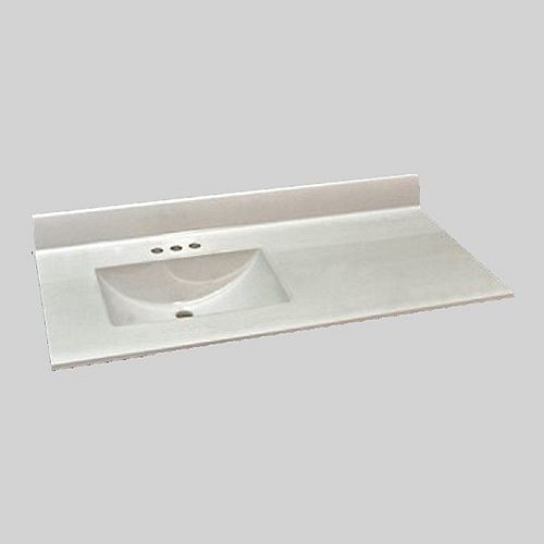 Wave 49-Inch W x 22-Inch D Marble Left Hand Basin Vanity Top in Ultra White
