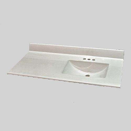 Wave 49-Inch W x 22-Inch D Marble Right Hand Basin Vanity Top in Ultra White
