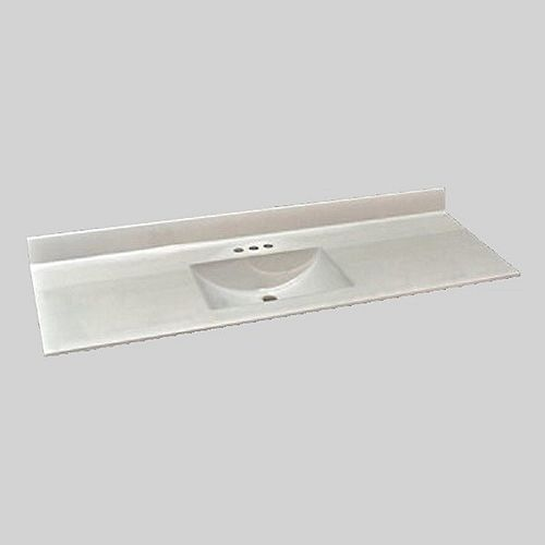 Wave 61-Inch W x 22-Inch D Marble Centre Basin Vanity Top in Ultra White
