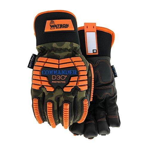 Watson Gloves Heavy Duty Lined Camo Winter Work Gloves with D3O Protection & PVC Padded Palm Grip - Commander - M