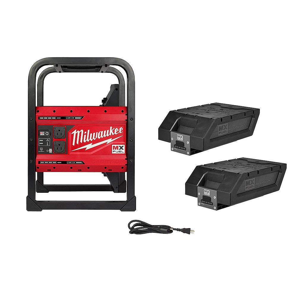 Milwaukee Tool MX FUEL CARRY-ON 3600W/1800W Li-Ion Battery Powered Portable Power Station Generator W/ 2 Batteries