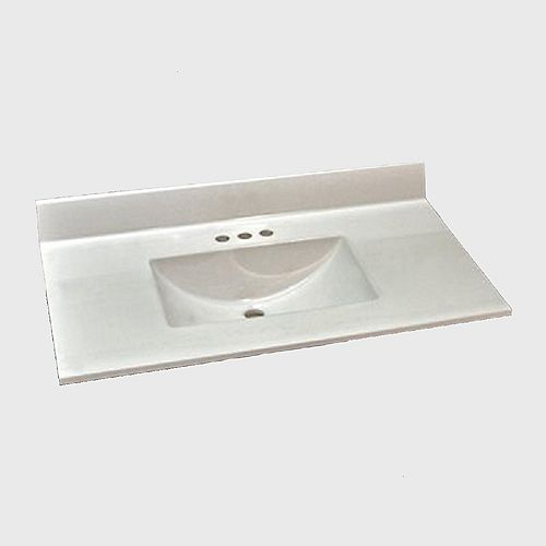 Wave 37-Inch W x 22-Inch D Marble Centre Basin Vanity Top in Antique White