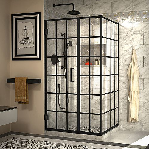DreamLine Unidoor Toulon 34 in. D x 40 in. W x 72 in. H Frameless Shower Enclosure in Satin Black
