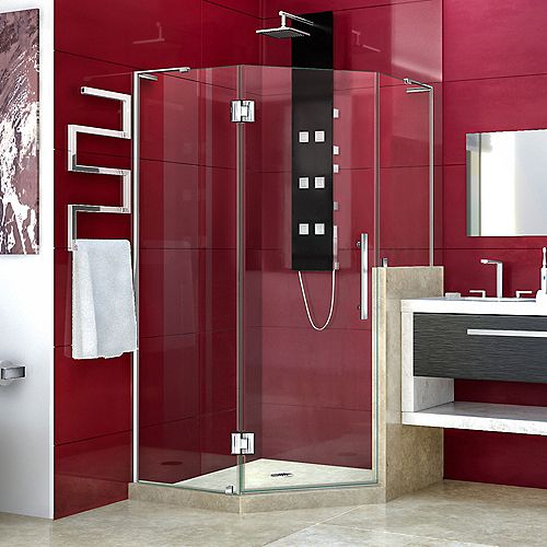 DreamLine Prism Plus 40 in. x 72 in. Frameless Neo-Angle Shower Enclosure with Half Panel in Chrome