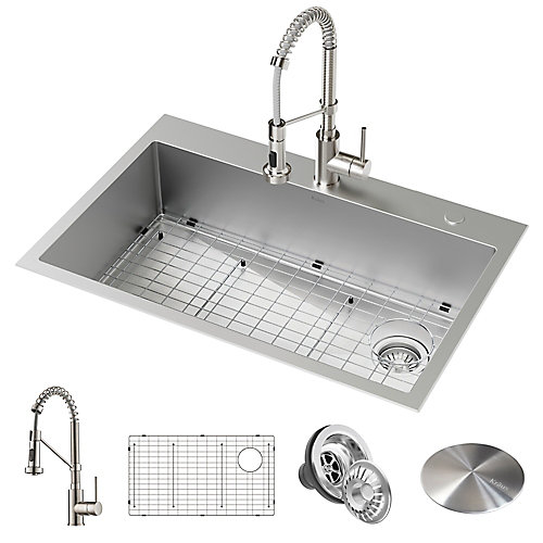 Loften All-in-One Dual Mount Stainless Steel 33 in. Single Bowl Kitchen Sink with Pull Down Faucet