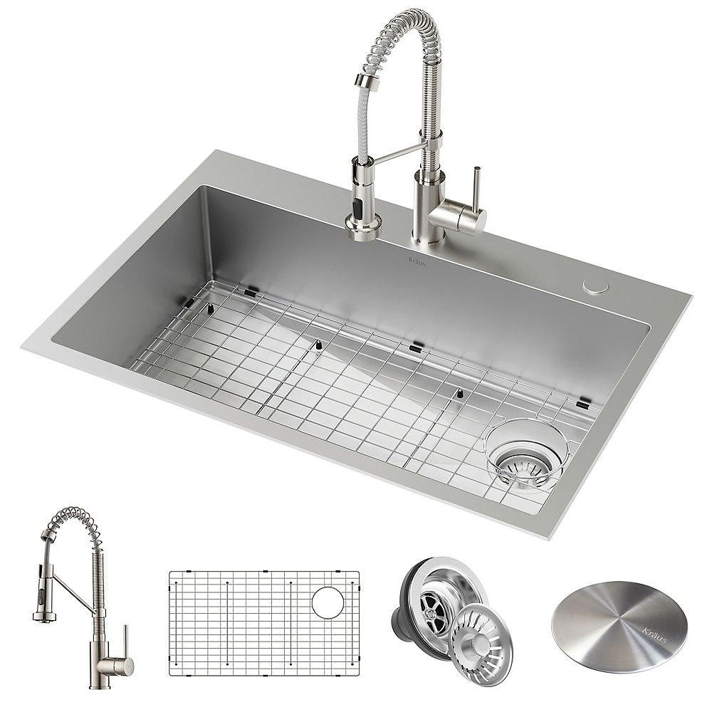 Kraus Loften All In One Dual Mount Stainless Steel 33 In Single Bowl Kitchen Sink With Pu The Home Depot Canada
