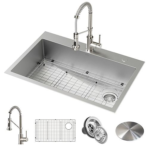 Kraus Loften All-in-One Dual Mount Stainless Steel 33 in. Single Bowl Kitchen Sink with Pull Down Faucet