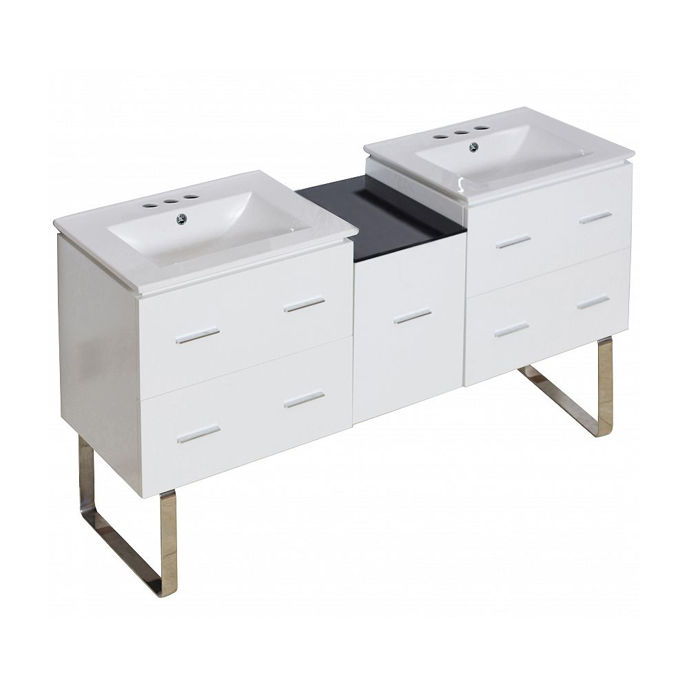 American Imaginations 61.5-inch W Vanity with Ceramic Top