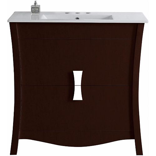 American Imaginations Bow Series Vanity in Coffee Color