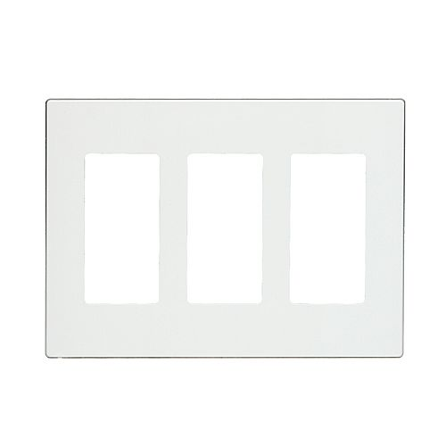 Decora 3-Gang Wallplate, Screwless, Poly Carbonate, Snap-On Mount - White