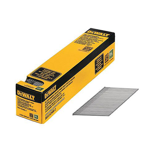 2 1/2-inch x 15 Gauge Galvanized Angled Nails (2500 Pieces)