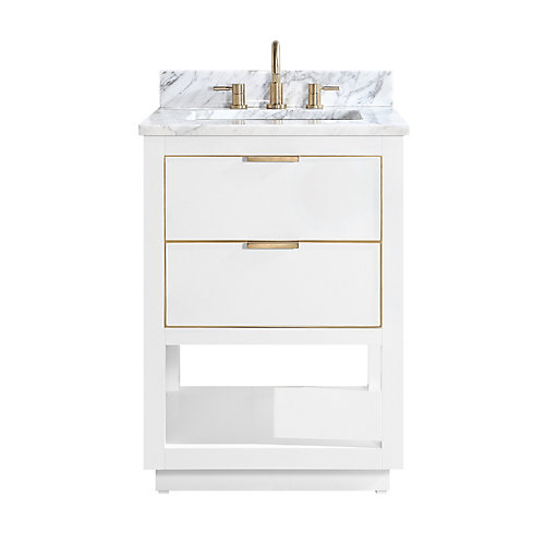 Allie 25 inch Vanity Combo in White with Gold Trim and Carrara White Marble Top