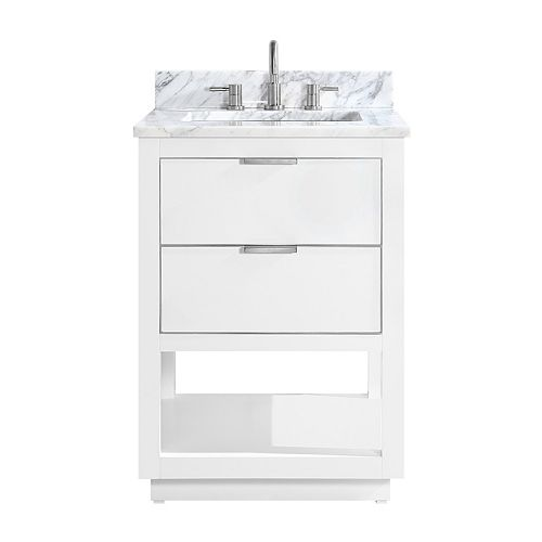 Avanity Allie 25 inch Vanity Combo in White with Silver Trim and Carrara White Marble Top
