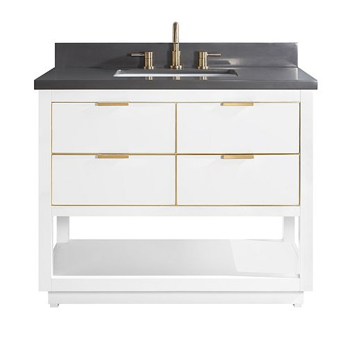 Avanity Allie 43 inch Vanity Combo in White with Gold Trim and Gray Quartz Top