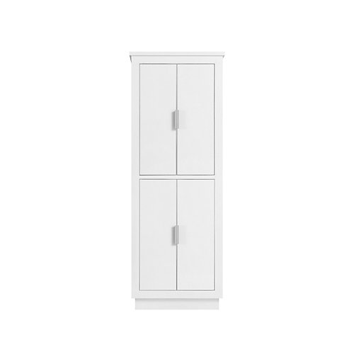 24 in. Linen Tower for Allie / Austen in White with Silver Trim