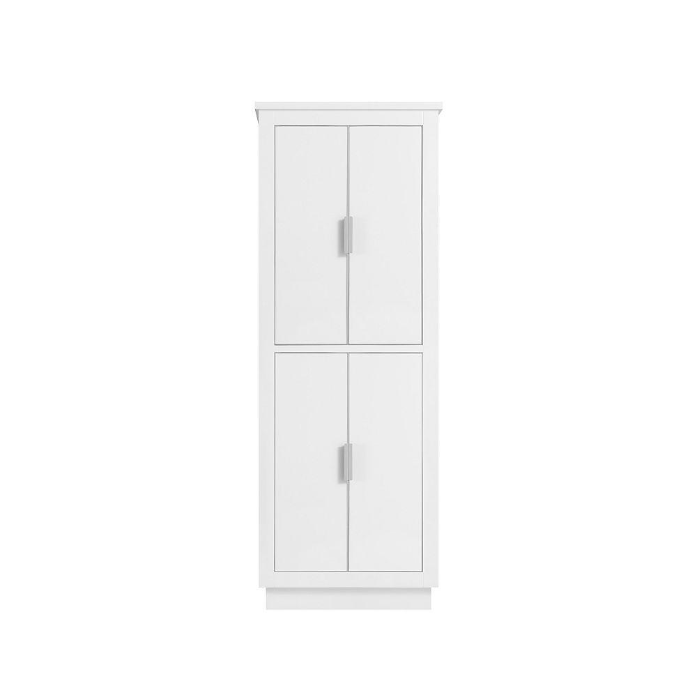 Avanity 24 inch Linen Tower for Allie / Austen in White with Silver Trim