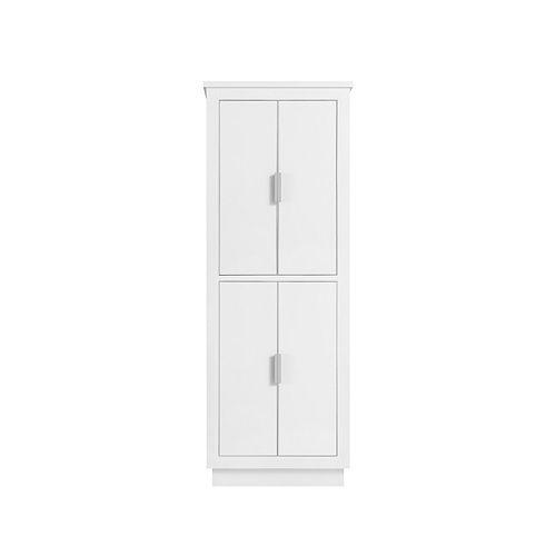 Avanity Armoire à linge Avanity de 24 pour meuble-lavabo Allie ou Austen, fini blanc et garniture argent