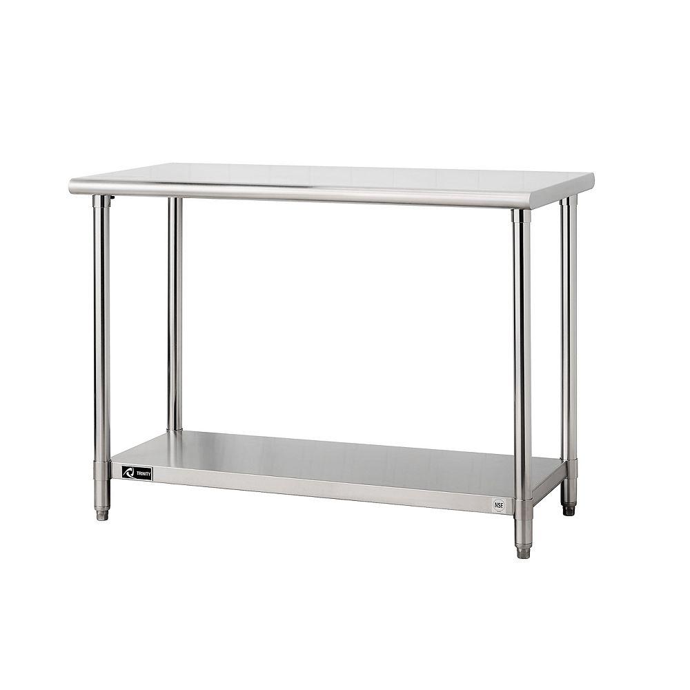 """Trinity EcoStorage Stainless Steel Table-48"""" x 24"""" x 35""""-NSF"""