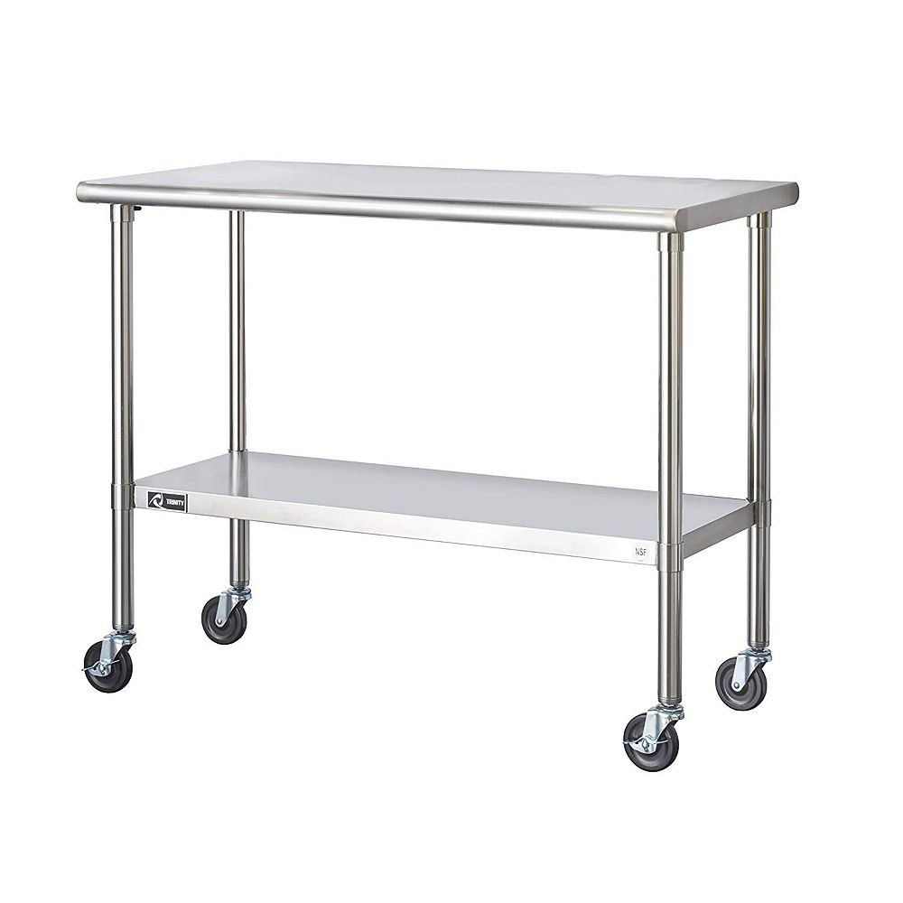 Trinity EcoStorage Stainless Steel Table-NSF-Includes Wheels