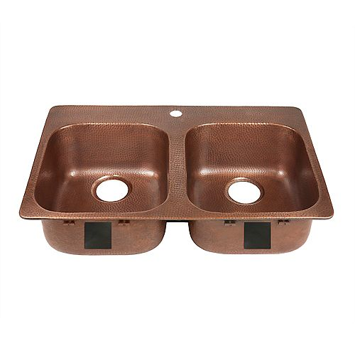 Santi Drop-In 33 inch 1-Hole Double Bowl Copper Kitchen Sink in Antique Copper