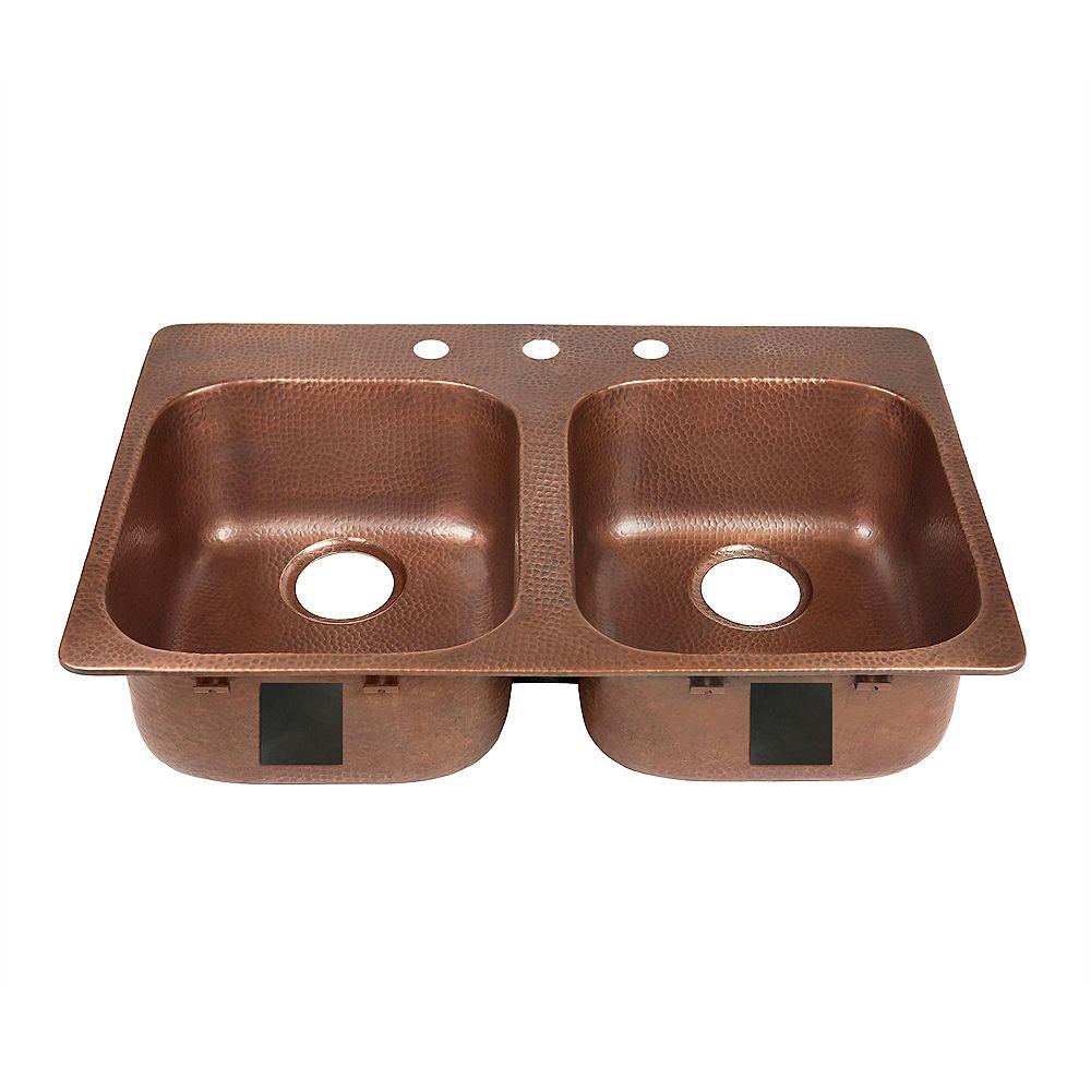 Sinkology Santi Drop-In 33 inch 3-Hole Double Bowl Copper Kitchen Sink in Antique Copper