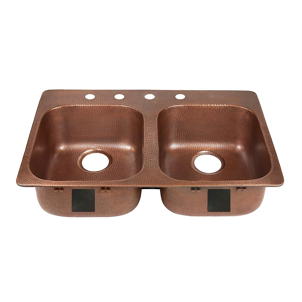 Sinkology Santi Drop-In 3 inch 4-Hole Left Side Double Bowl Copper Kitchen Sink in Antique Copper