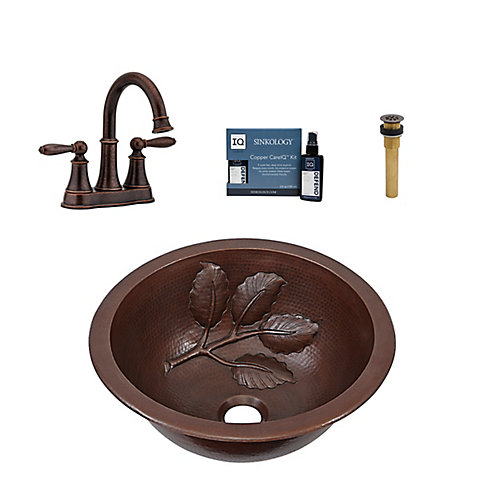 Newton All-In-One Drop-In or Undermount Copper Bath Sink Kit with Pfister Courant Faucet and Drain