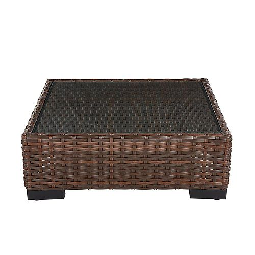Commercial Dark Brown Square Wicker Glass Top Outdoor Coffee Table
