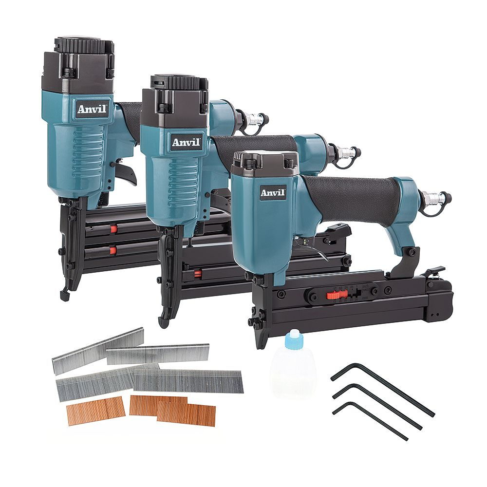 Anvil Pneumatic Brad Nailer, Stapler, And Pin Nailer Kit With Fasteners (3-Pieces)