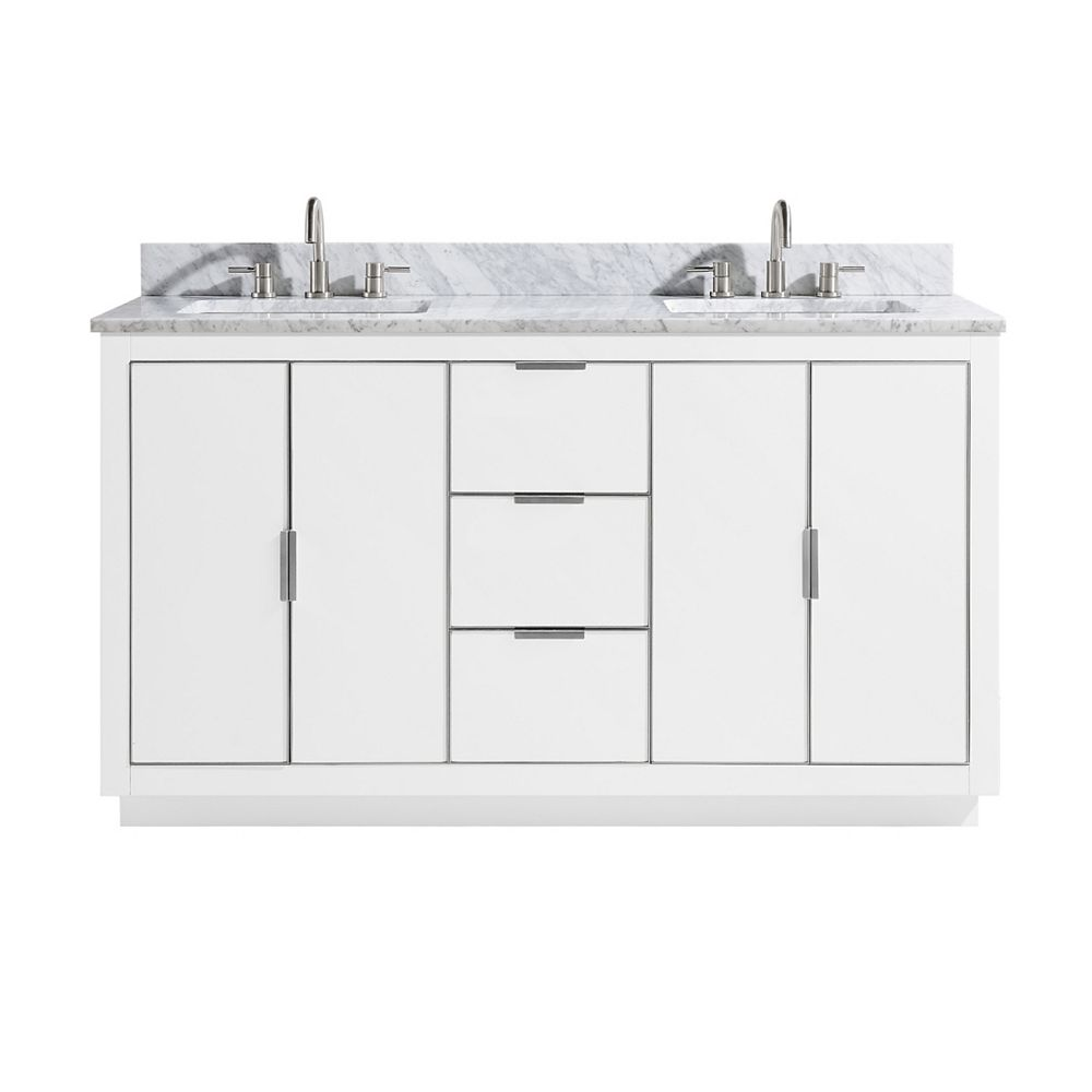 Avanity Austen 61 inch Vanity Combo in White with Silver Trim and Carrara White Top