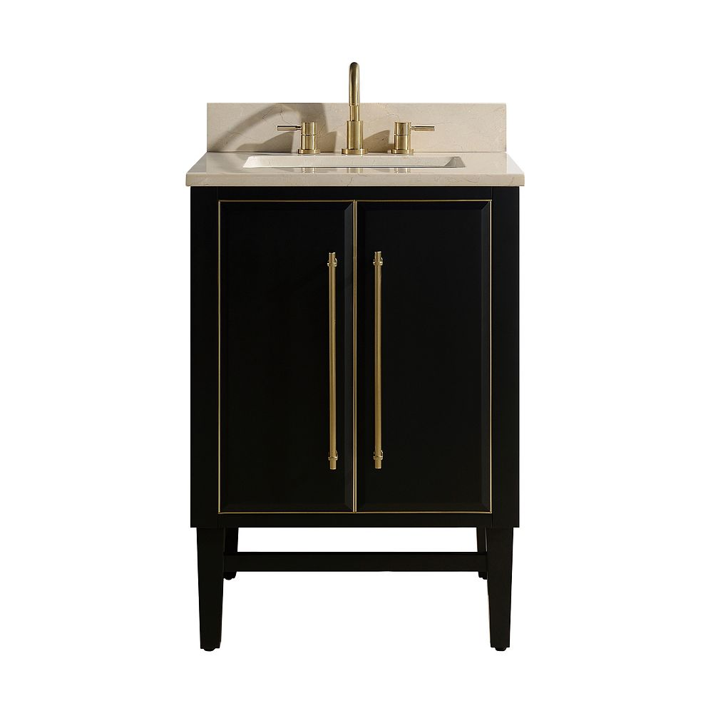 Avanity Mason 25 Inch Vanity Combo In Black With Gold Trim And Crema Marfil Marble Top The Home Depot Canada