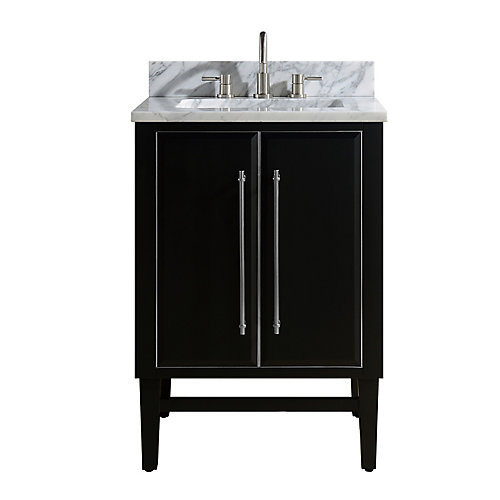 Mason 25 inch Vanity Combo in Black with Silver Trim and Carrara White Marble Top