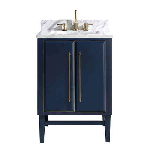 Avanity Mason 25 inch Vanity Combo in Navy Blue with Gold Trim and Carrara White Marble Top